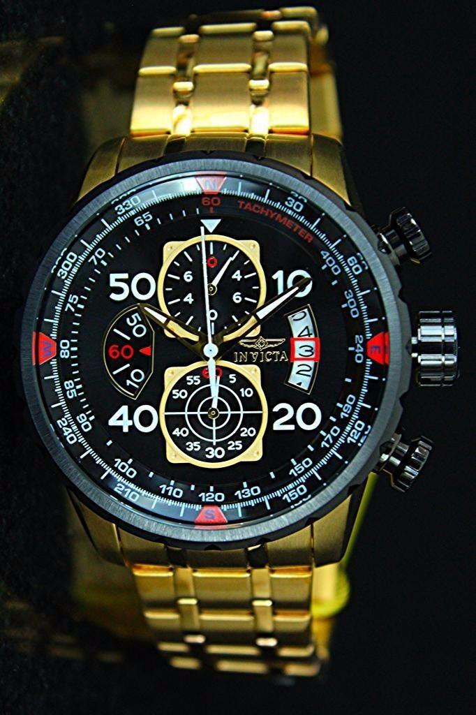 2c26fb3a2ec invicta aviator 17206 18k gold original com caixa e manuais. Carregando  zoom.