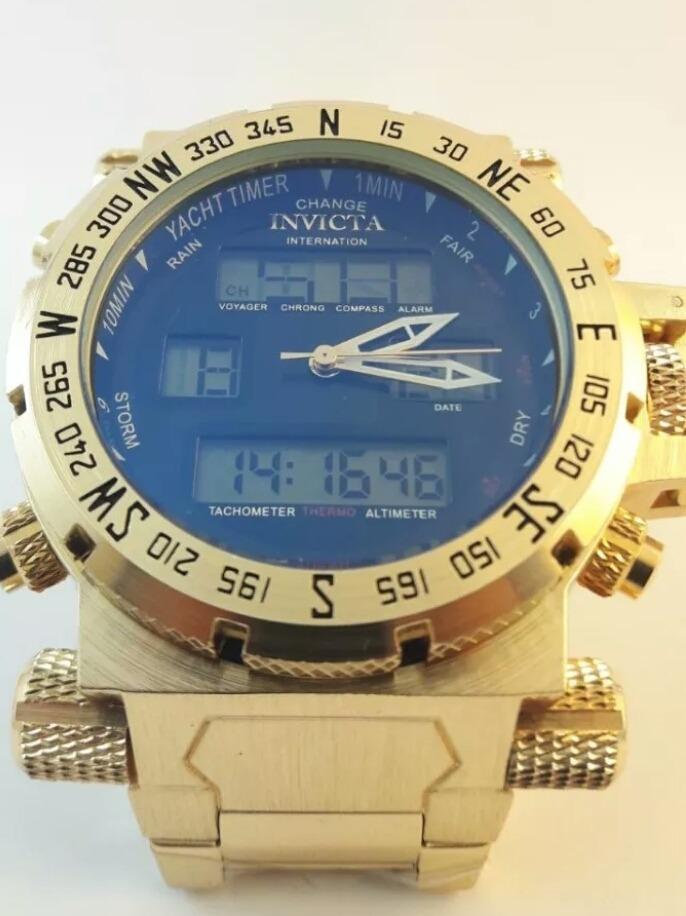 66ee60fbbcb invicta ouro relógio masculino barato digital pulseira luxo. Carregando  zoom.