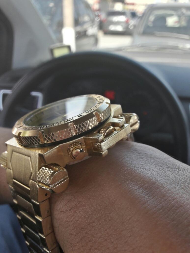 cd22183a381 invicta relógio masculino barato digital f. dourado pulseira. Carregando  zoom.