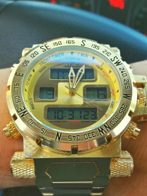 b647675f417 Invicta Relógio Masculino Barato Digital F. Dourado Pulseira - R  319 ...