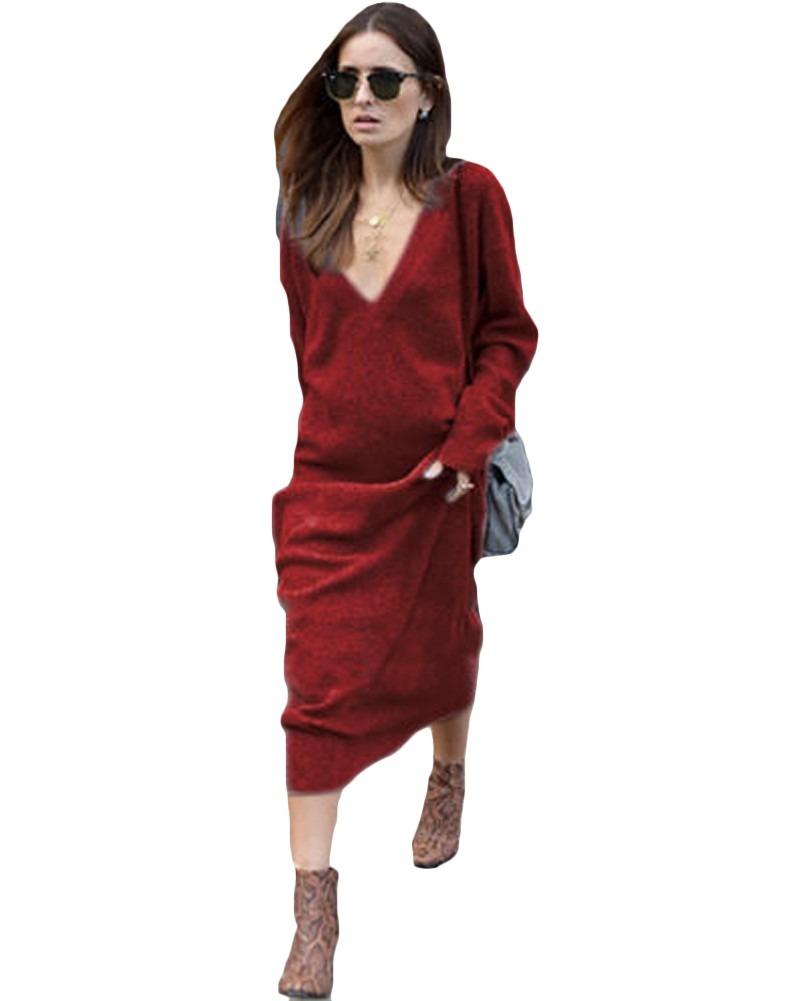 35e43b6ac4 invierno mujeres maxi suelto de punto suéter vestido profun. Cargando zoom.
