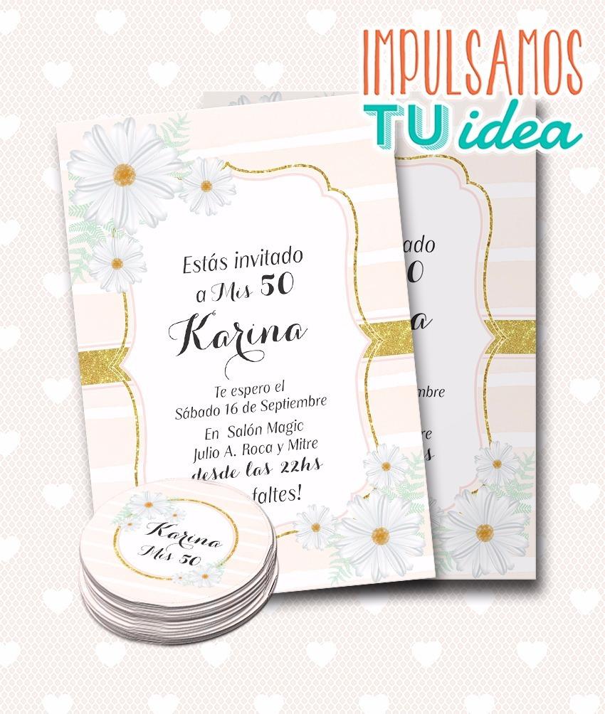 Invitación 50 Años Con Margaritas Tarjeta Imprimible