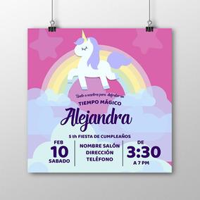 Invitación Alta Calidad Unicornio 001 Fiesta Cumpleaños Niña