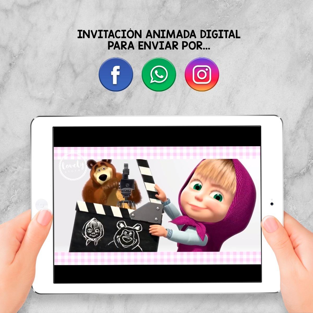 Invitación Animada Digital Cumpleaños Masha Y El Oso
