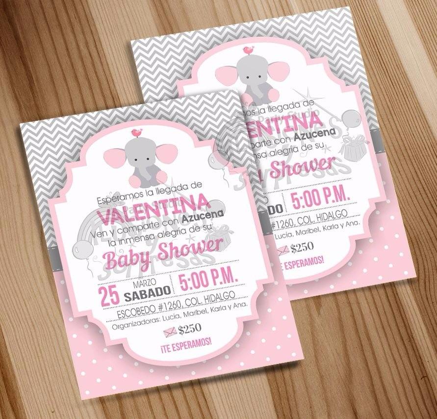 Invitacion Imprimble Baby Shower Nina Tema Elefantes 100 00 En