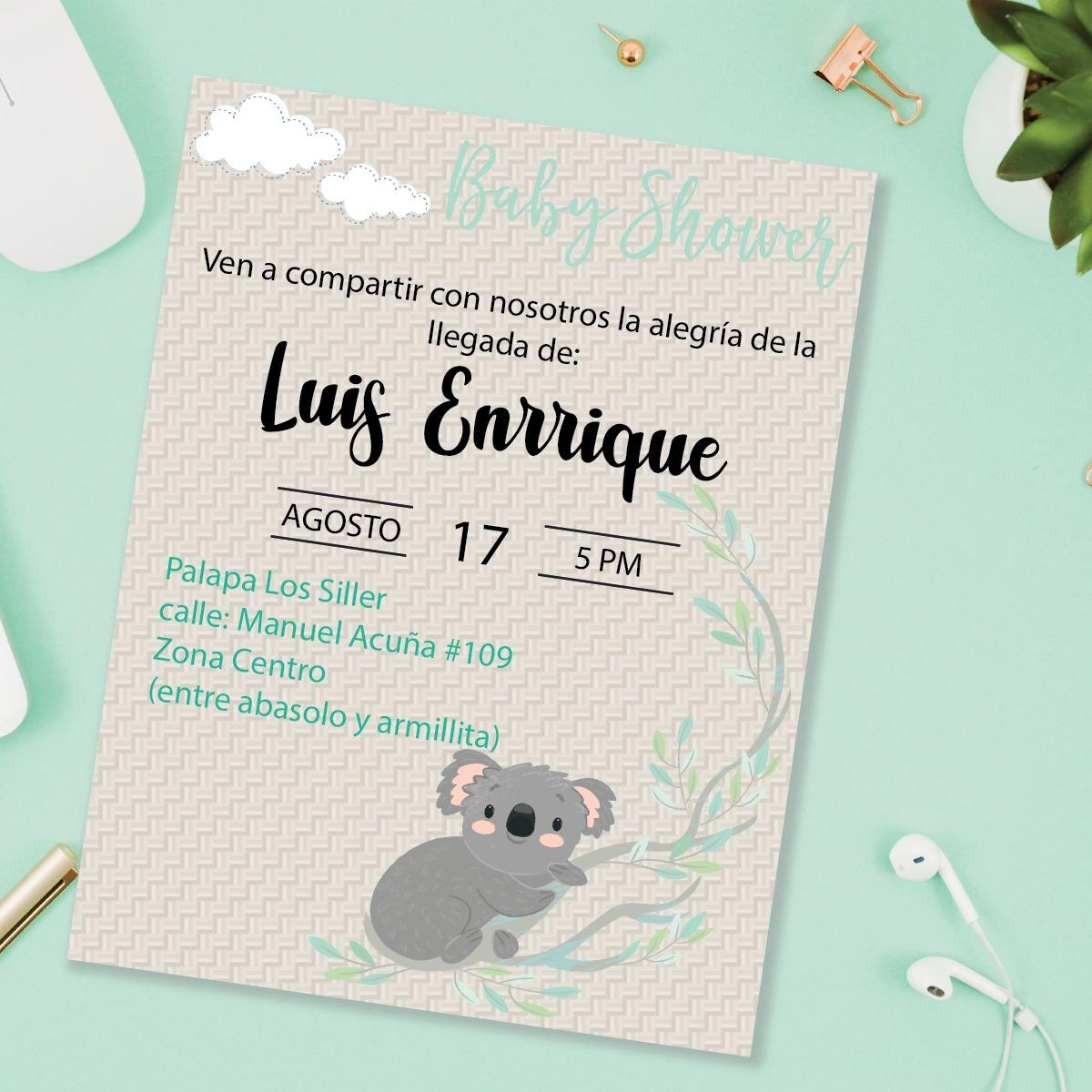 Lista De Baby Shower Nino.Invitacion Baby Shower Nino Koala Listo Para Imprimir