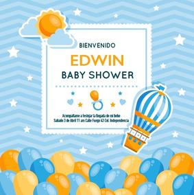 Invitación Baby Shower Niño Niña Globos Azul Personalizada
