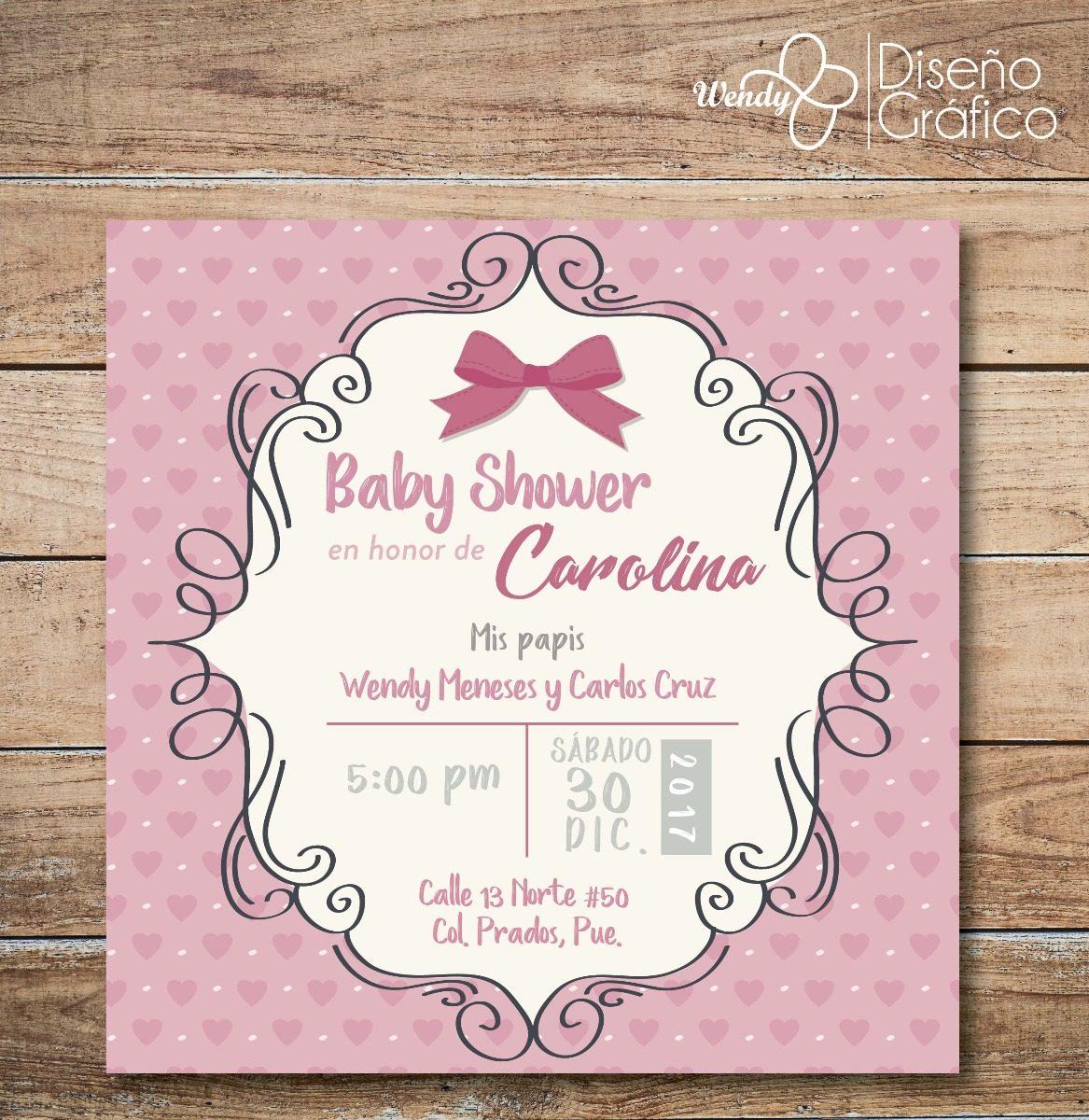 1acaa7ce6b6e7 Invitacion Baby Shower Para Niña -   12.00 en Mercado Libre