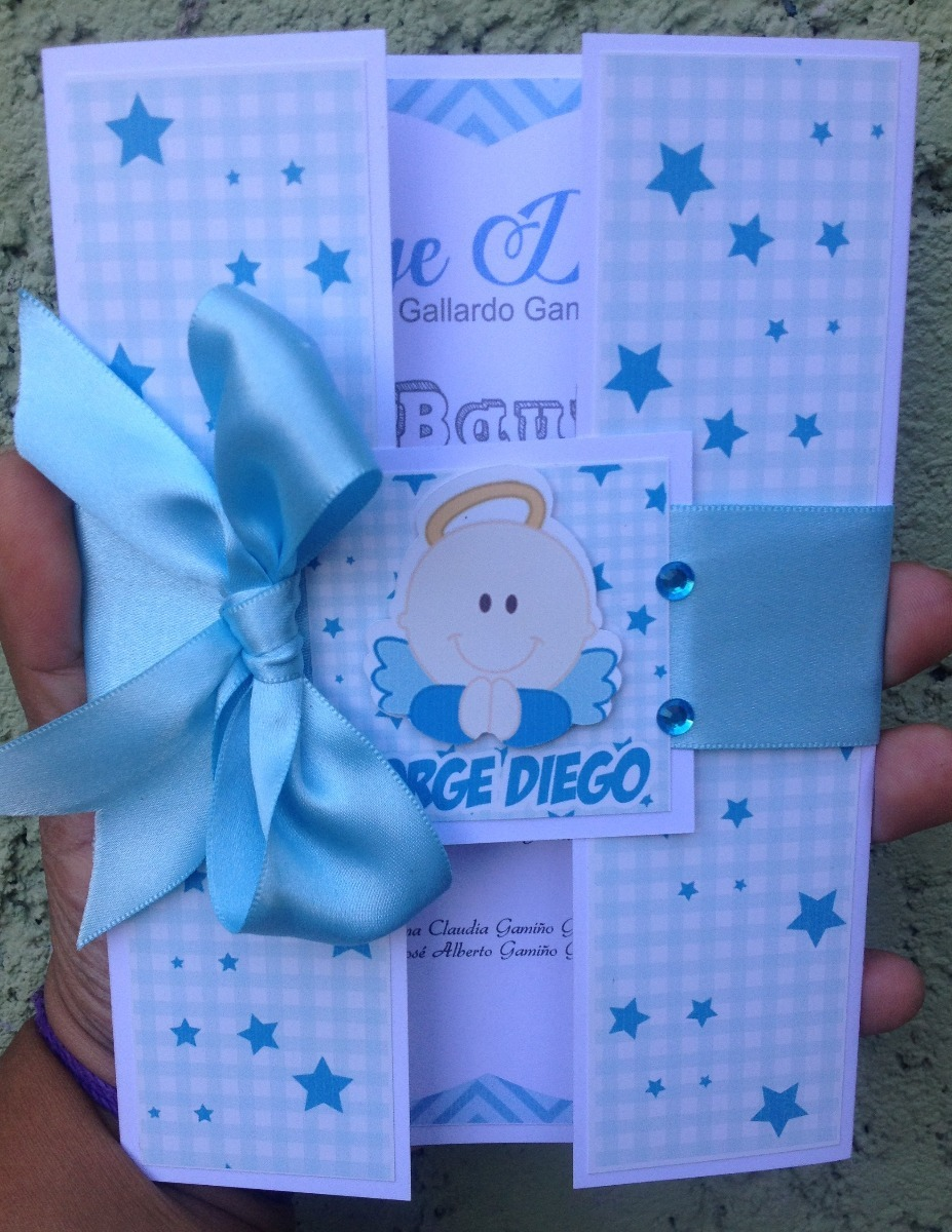 Invitacion Bautizo Para Niño Modelo Cartera Angeles