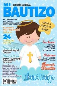 Invitacion Bautizo Tipo Revista O Postal Imprimible