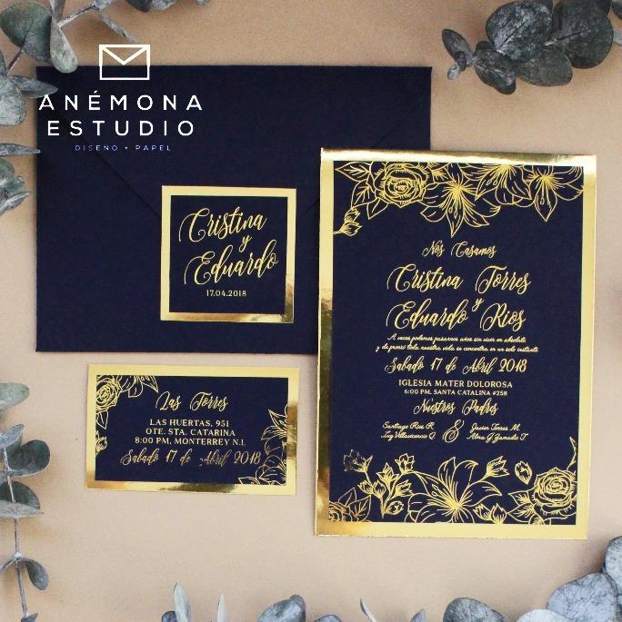 invitacion boda xv metalico azul marino dorado con sobre