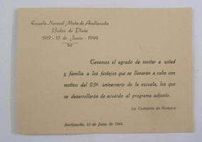 Invitacion Bodas De Plata Escuela Normal Avellaneda 1944