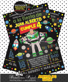 Invitación Buzz Lightyear Pizarrón Invitaciones Cumpleaños