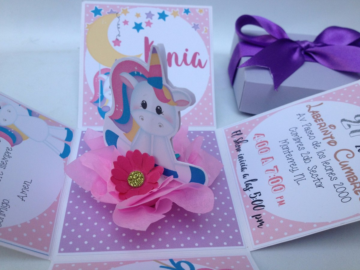 Imagenes De Unicornios Infantiles: Invitación Caja Explosiva (unicornios) Cumpleaños