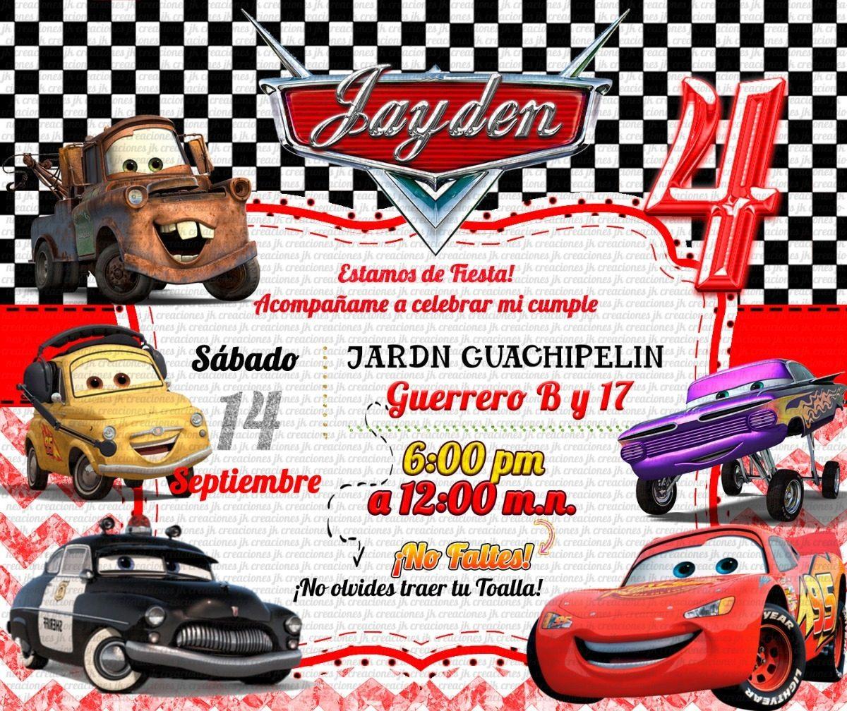 Invitación Cars En Sobre Celofán Rayo Mcqueen