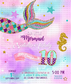 Invitación Cola De Sirena En Sobre Celofán Mermaid Tail