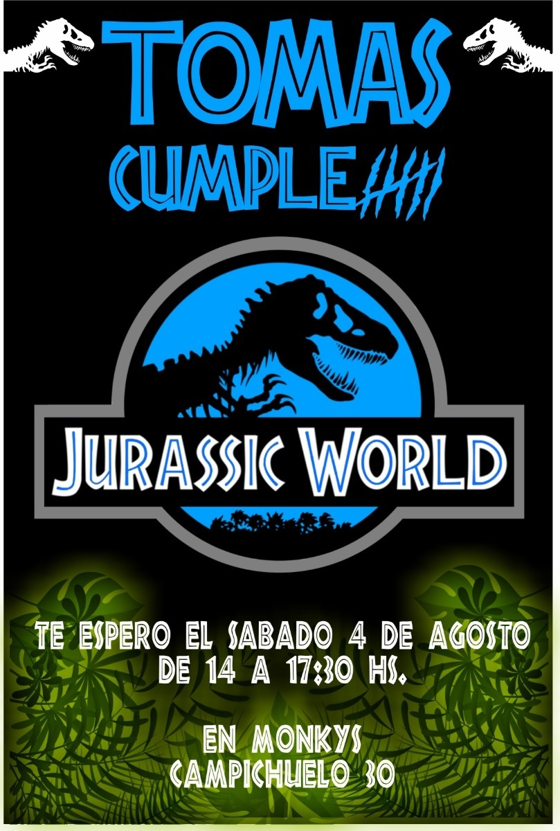Tarjeta De Cumpleanos Jurassic Park