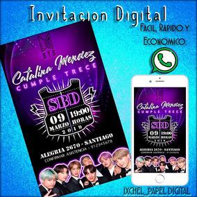 Invitación Cumpleaños Bts Digital