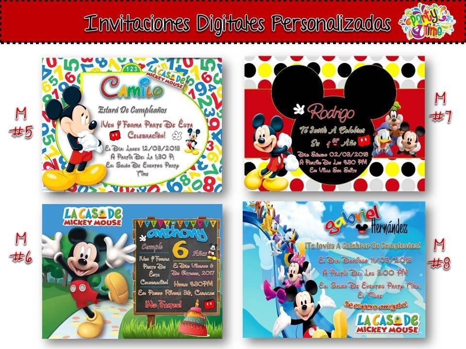 Invitación Cumpleaños De Mickey Mouse Tarjeta Digital