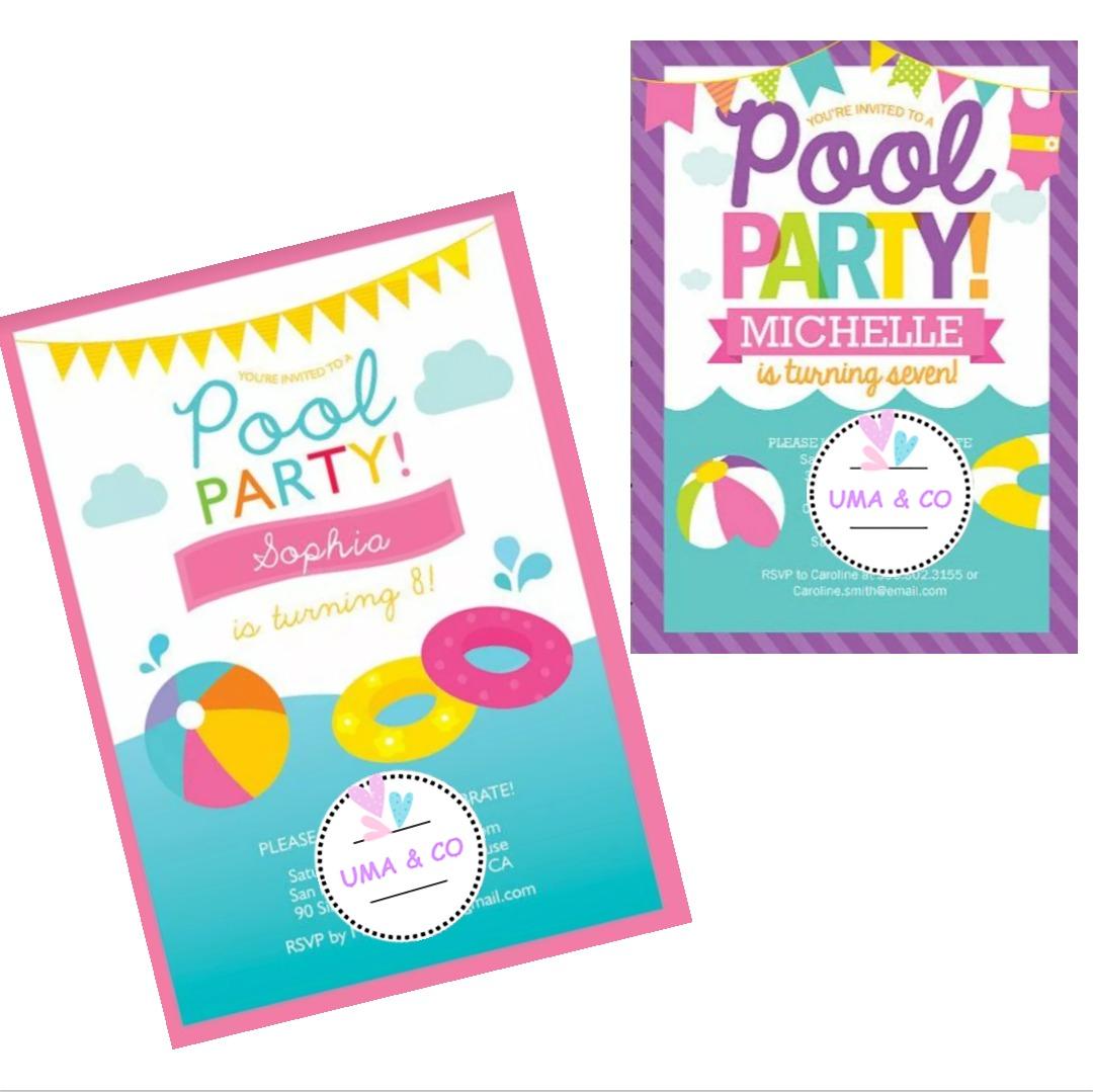 9329ac6eaf30 Invitación Cumpleaños Digital Pool Party Pileta Verano Playa