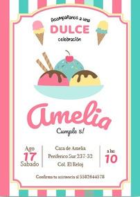 Invitación Cumpleaños Infantil Niña Dulces Personalizadas