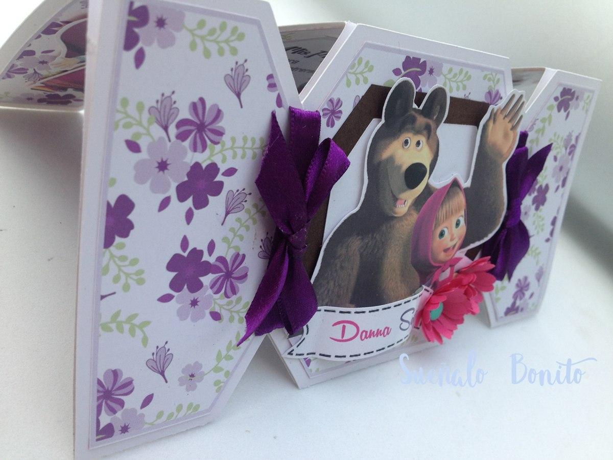 invitaci u00f3n cumplea u00f1os masha y el oso  candy