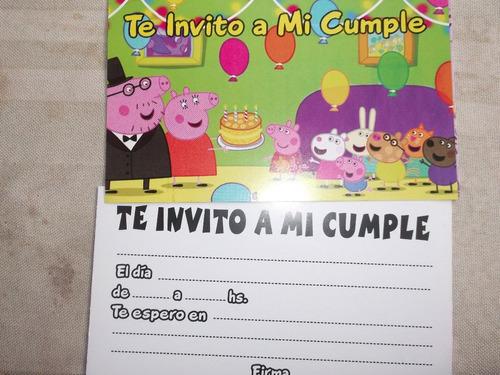 invitacion cumpleaños  peppa,cotillon,corpresit   10 x $ 40