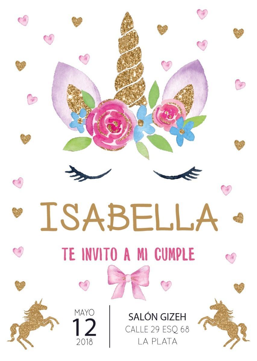 Invitacion Cumpleanos Unicornio Imprimible Personalizad 15 00 En