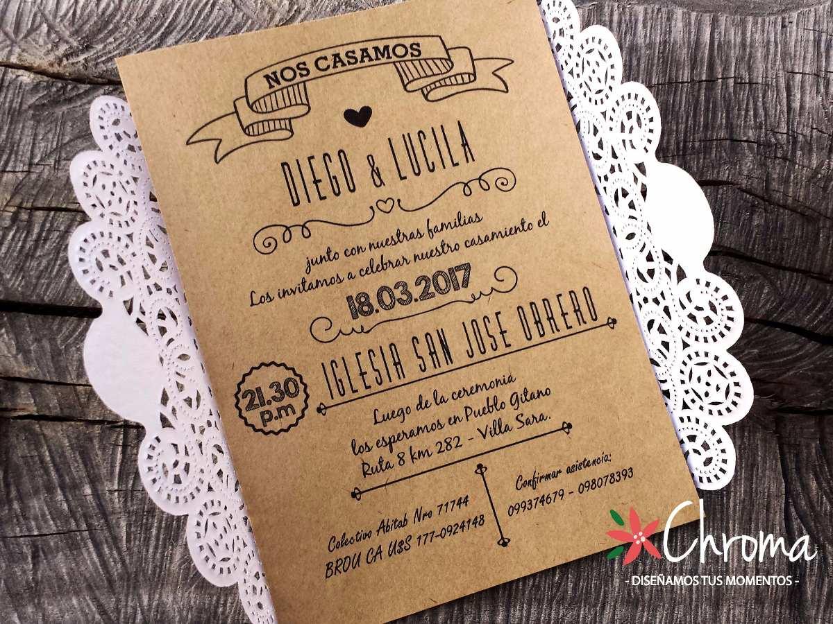 Invitaciones Para Matrimonio Rustico : Invitacion de boda años tarjetas kraft rustico
