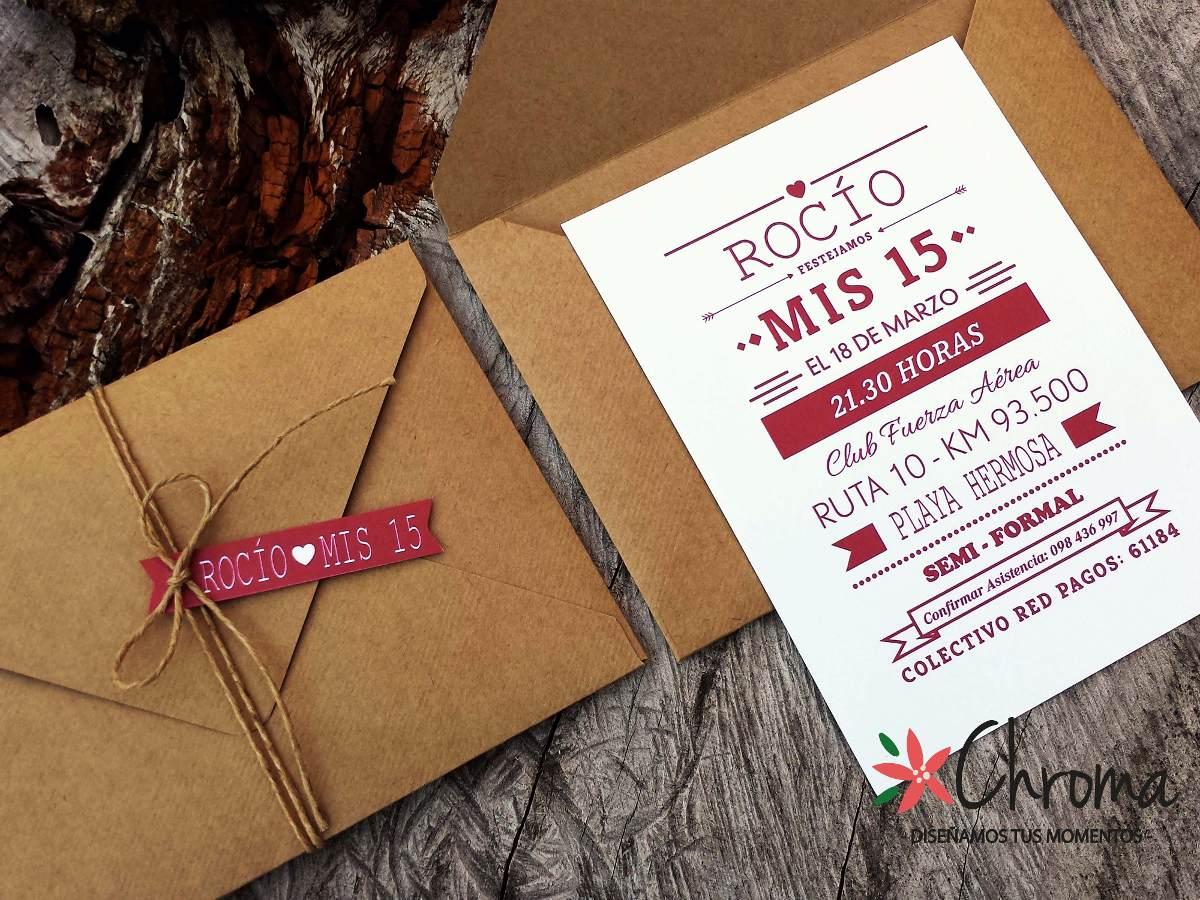 Tarjetas De Matrimonio Rustico : Invitacion de boda años tarjetas kraft rustico