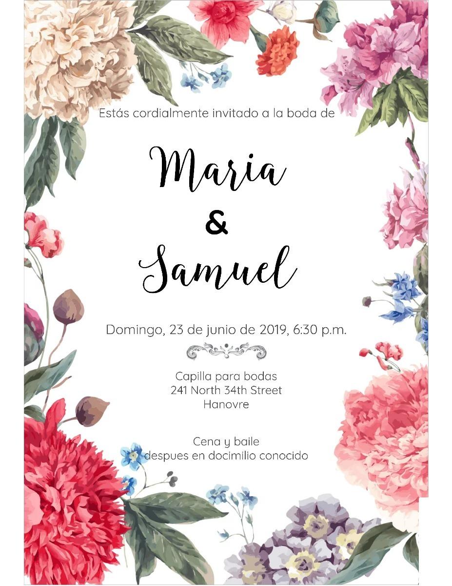 Invitacion de boda dise o 1 en mercado libre - Disenos tarjetas de boda ...