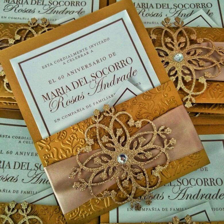 invitacion de boda elegante con broche xv bautizo