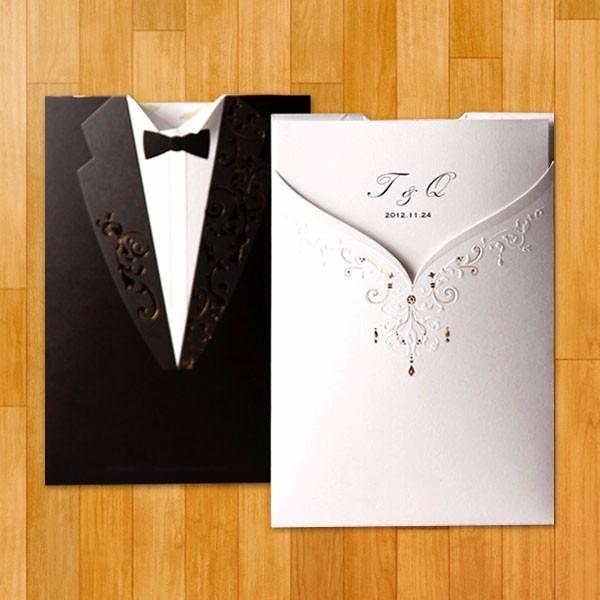 invitacin de boda elegante vestido traje de novios