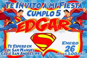 Invitación De Cumple Años Infantil Superman Original
