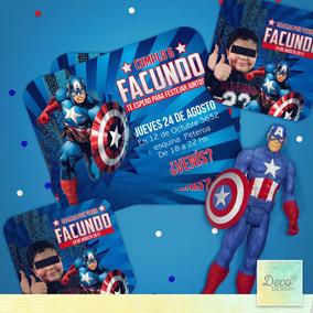 Invitacion De Cumpleaños Capitan América