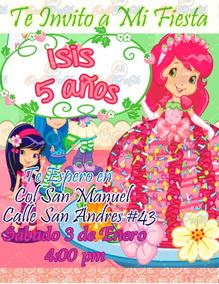Invitación De Cumpleaños Infantil Rosita Fresita