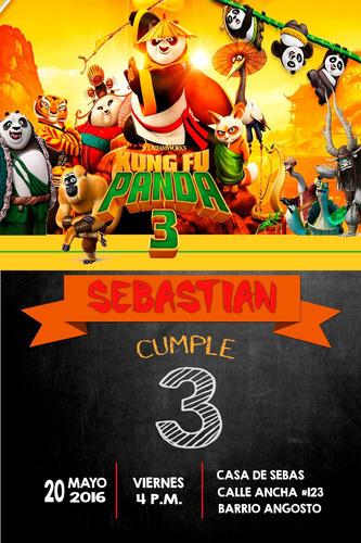 invitación de cumpleaños kung fu panda 3 photoshop