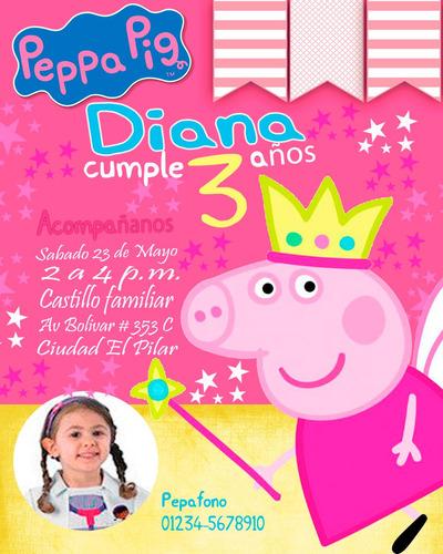 invitación de cumpleaños peppa pig  photoshop