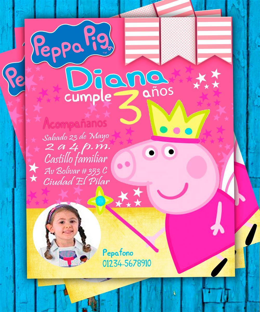 Invitacion De Cumpleanos Peppa Pig Photoshop Bs 262 44 En Mercado
