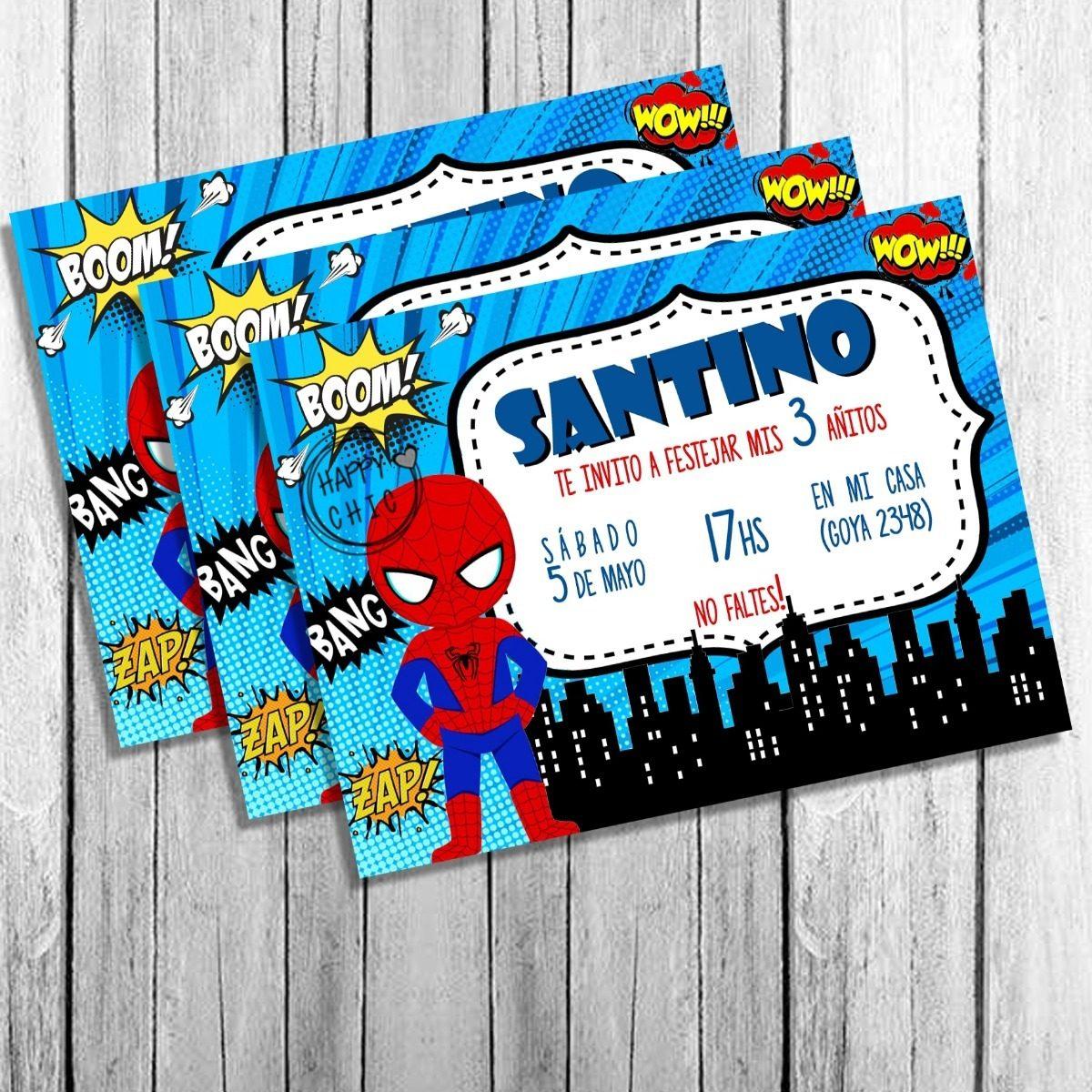 Invitación De Cumpleaños Spiderman Hombre Araña
