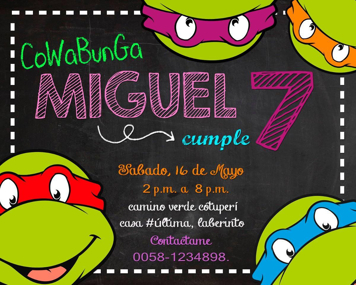 Invitación De Cumpleaños Tortugas Ninjas Incluye Edicion ...