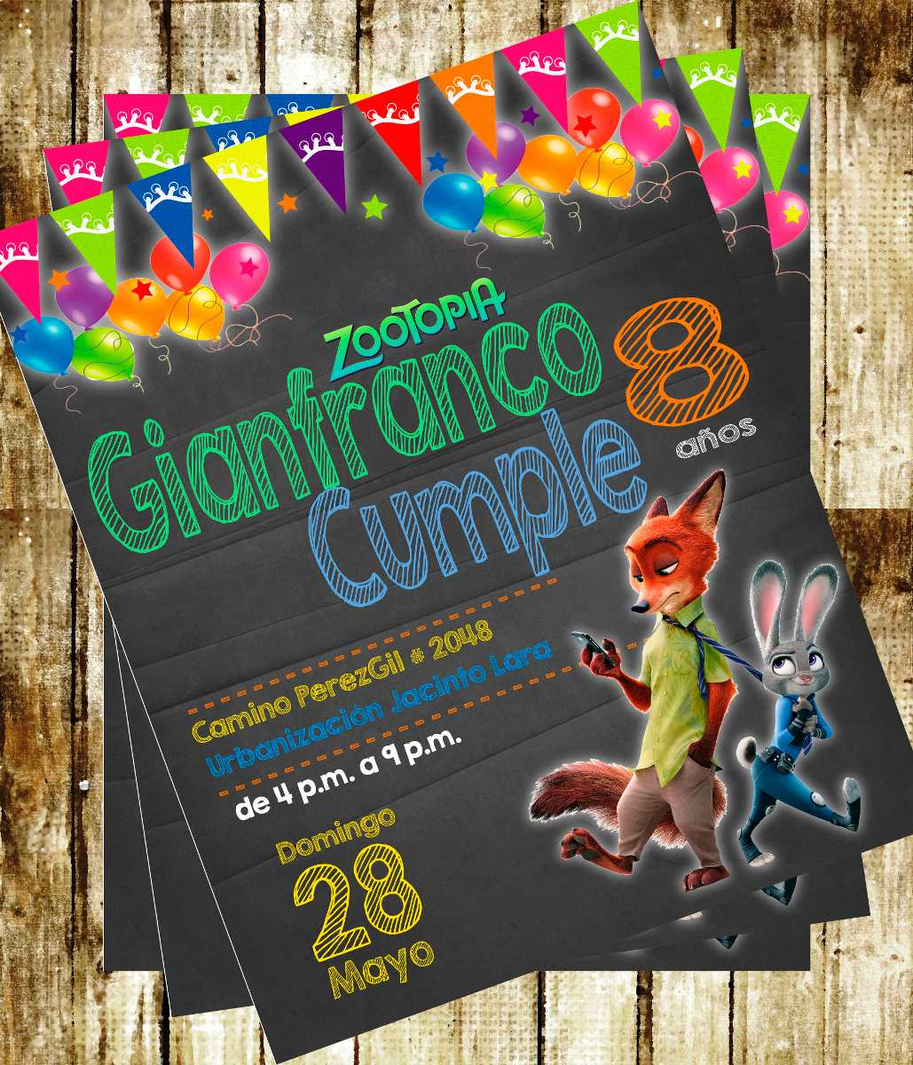 Invitacion De Cumpleanos Zootopia Disney Photoshop Bs 262 44 En