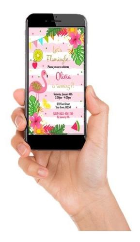 invitación de flamingo, piscinada (digital)