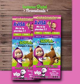 Invitacion De Masha Y El Oso Digital Personalizada Bear