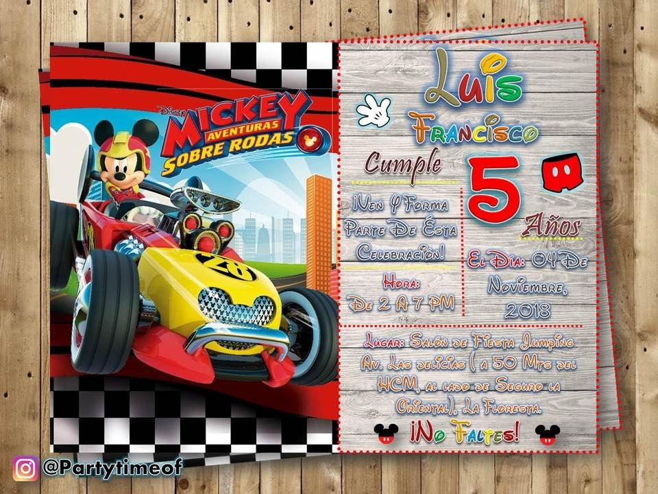 Invitación De Mickey Aventuras Sobre Ruedas Tarjeta Digital