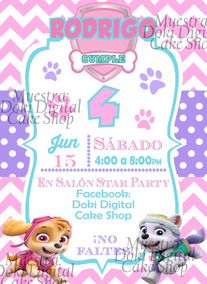 Invitación De Mini Video De Paw Patrol Tonos Claros Niña