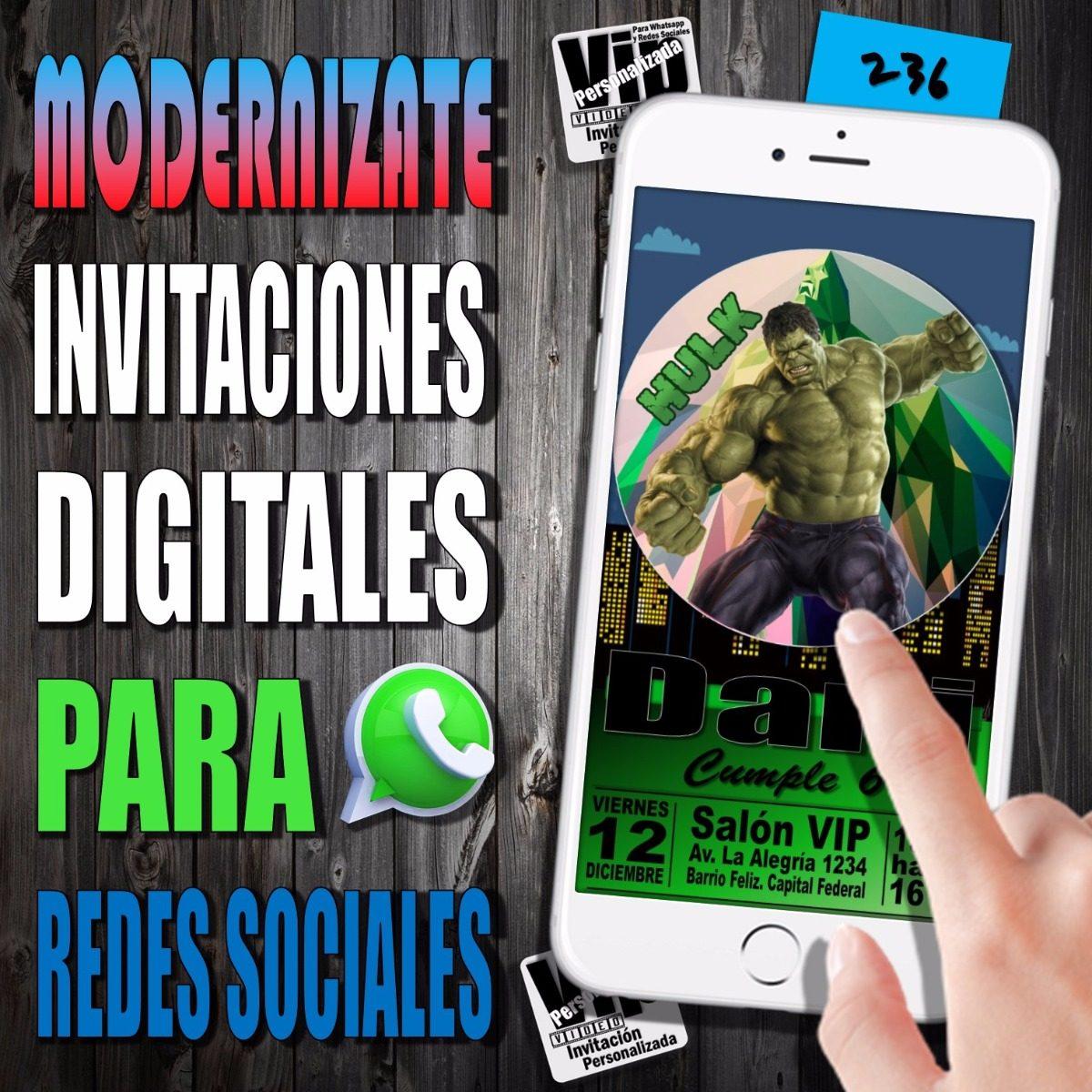 Invitacion Digital 236 Cumpleaños El Increible Hulk