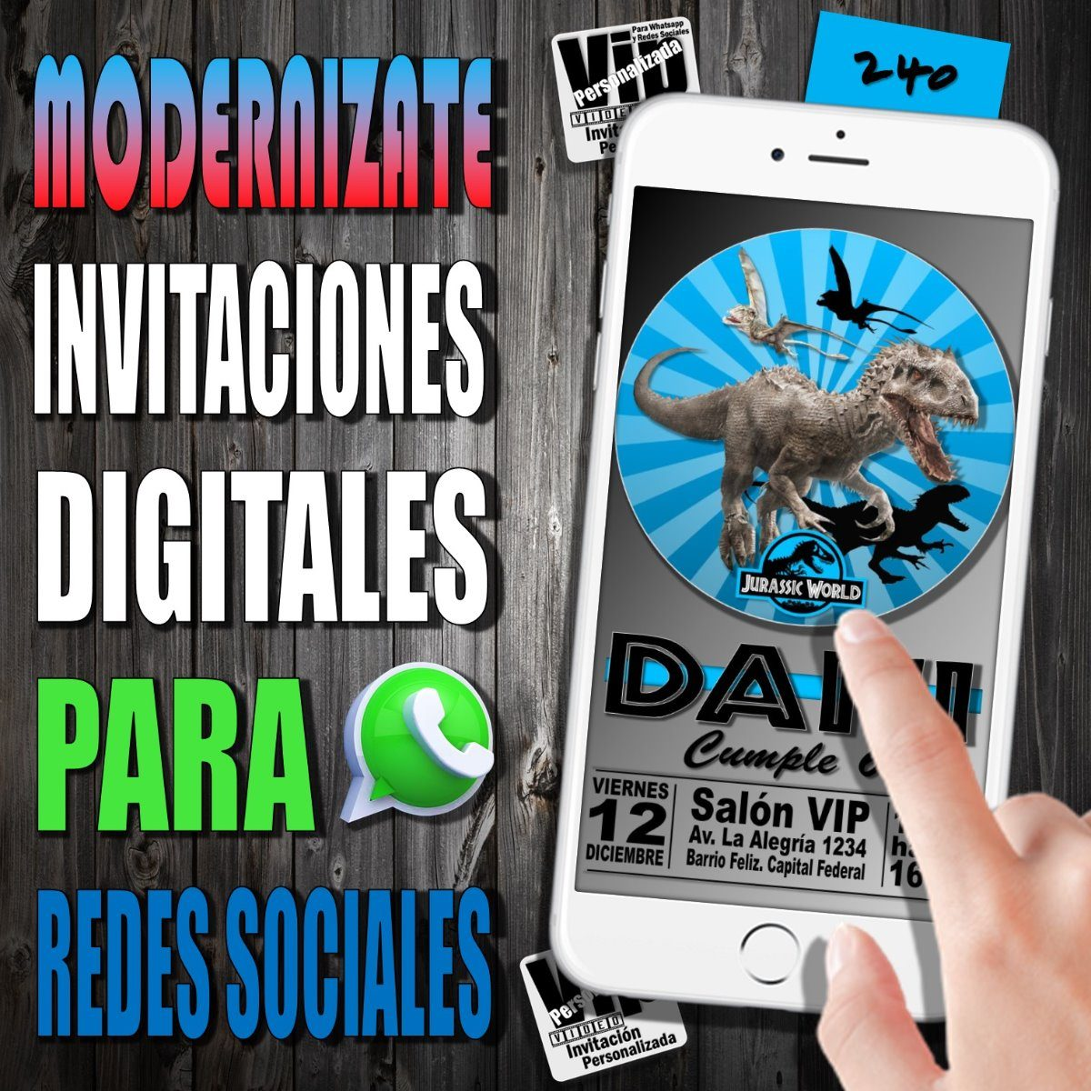 Invitacion Digital 240 Cumpleanos Jurassic World 99 99 En