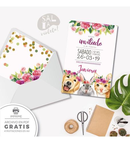 invitación digital animales mod1 - salta violeta