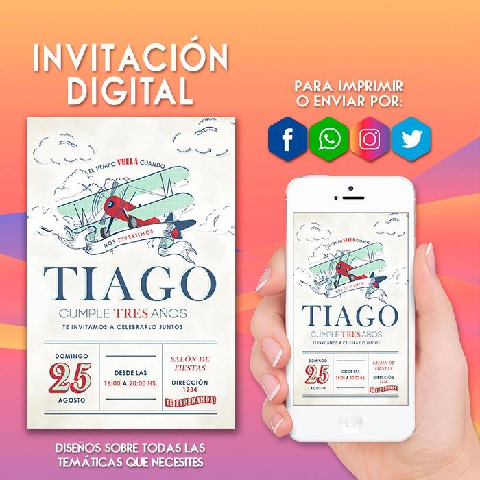 Invitacion Digital Aviador Avión Tarjeta Virtual Cumpleaños